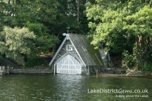 An ornate boathouse on the western shore of Coniston Water
