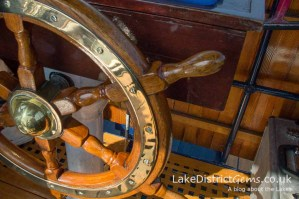 The helm on the National Trust's Steam Yacht Gondola