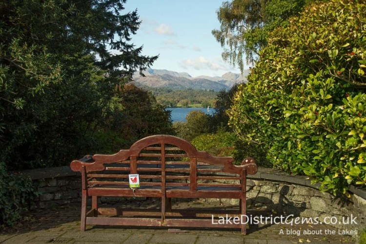 Bench and view at Brockhole on Windermere