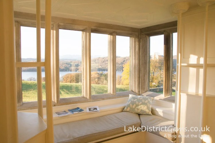 The view over Windermere from the White Drawing Room at Blackwell