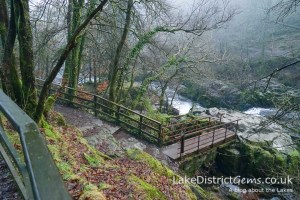 Looking down from the main footpath at Skelwith Force