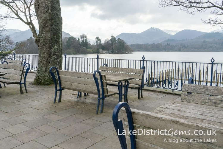 Picnic tables on the Derwentwater foreshore