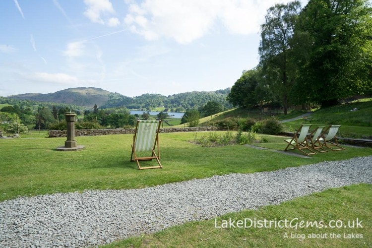 The lawn at Allan Bank overlooking Grasmere lake