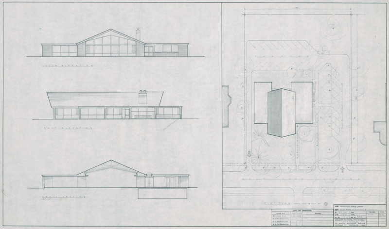 Woodstock Public Library: Plot Plan, Elevations and