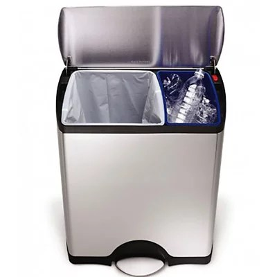 kitchen recycling bins refinishing composting lakeland simplehuman divided recycle waste pedal bin silver 46l