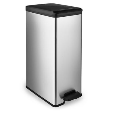 small recycling bins for kitchen home depot moen faucets curver slimline pedal bin metallic effect 40l lakeland