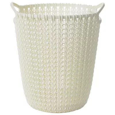 Mini Knit Effect Waste Paper Basket Cream In Wastepaper