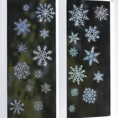 Sparkly Snowflakes Window Decorations in christmas