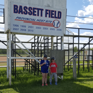 Farrah (left) & Vienna (right) in front of Bassett Field