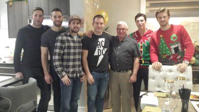 Left to Right: Eric Gryba, Cam Talbot, Chris Russel, Mark Letestu, Doug Bassett, Ryan Nugent-Hopkins, Oscar Kelbom