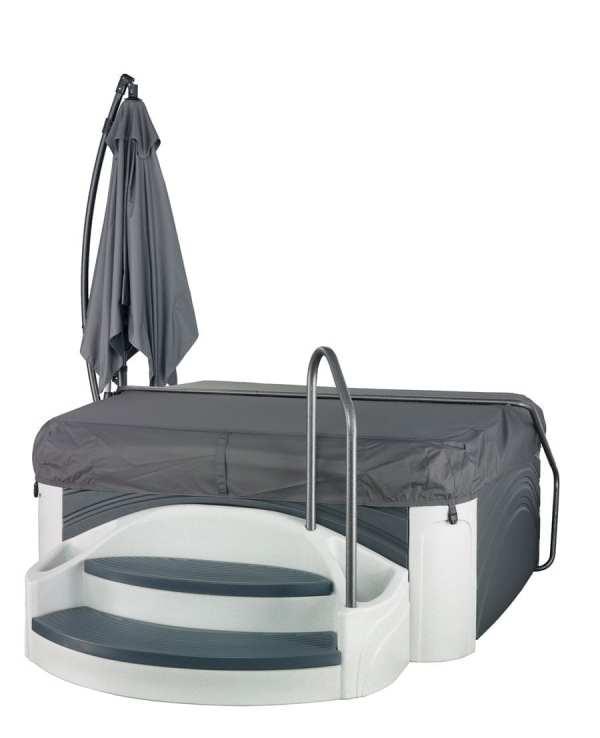 SideView-LightsOff-CoverOn-Cabana2500-WhiteDiamond-GrayPanels-Dream-Maker-spas