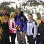 family going skiing during wedding