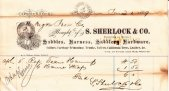 Oregon Iron Co. receipt for team harness purchased from S. Sherlock & Co. June 1, 1869
