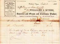 Oregon Iron Co. receipt for oats purchased from Williams & Myers September 3, 1868