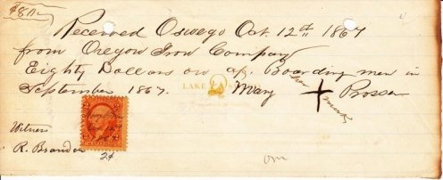 "Oregon Iron Co. receipt for $80 for boarding employees signed with an ""X"" by Mary Prosser October 12, 1867"