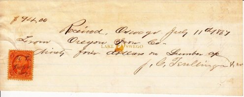 Oregon Iron Company receipt for lumber received from J. C. Trullinger July 11, 1867