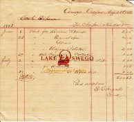 Oregon Iron Co. receipt for supplies signed by E. G. Ingalls August 21, 1868