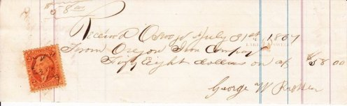 Oregon Iron Company receipt for George W. Prosser July 31, 1867