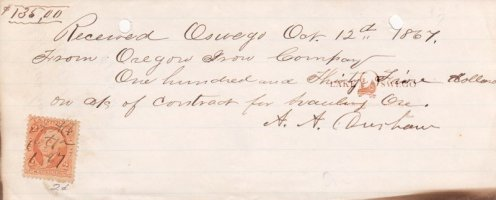 Oregon Iron Co. receipt to A. A. Durham for hauling ore October 12, 1867