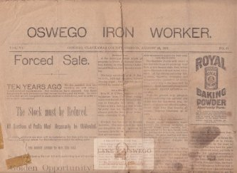 Oswego Iron Worker newspaper published by Herbert Lincoln Gill August 28, 1897