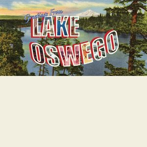 """Greetings From Lake Oswego"" Beach Towel"
