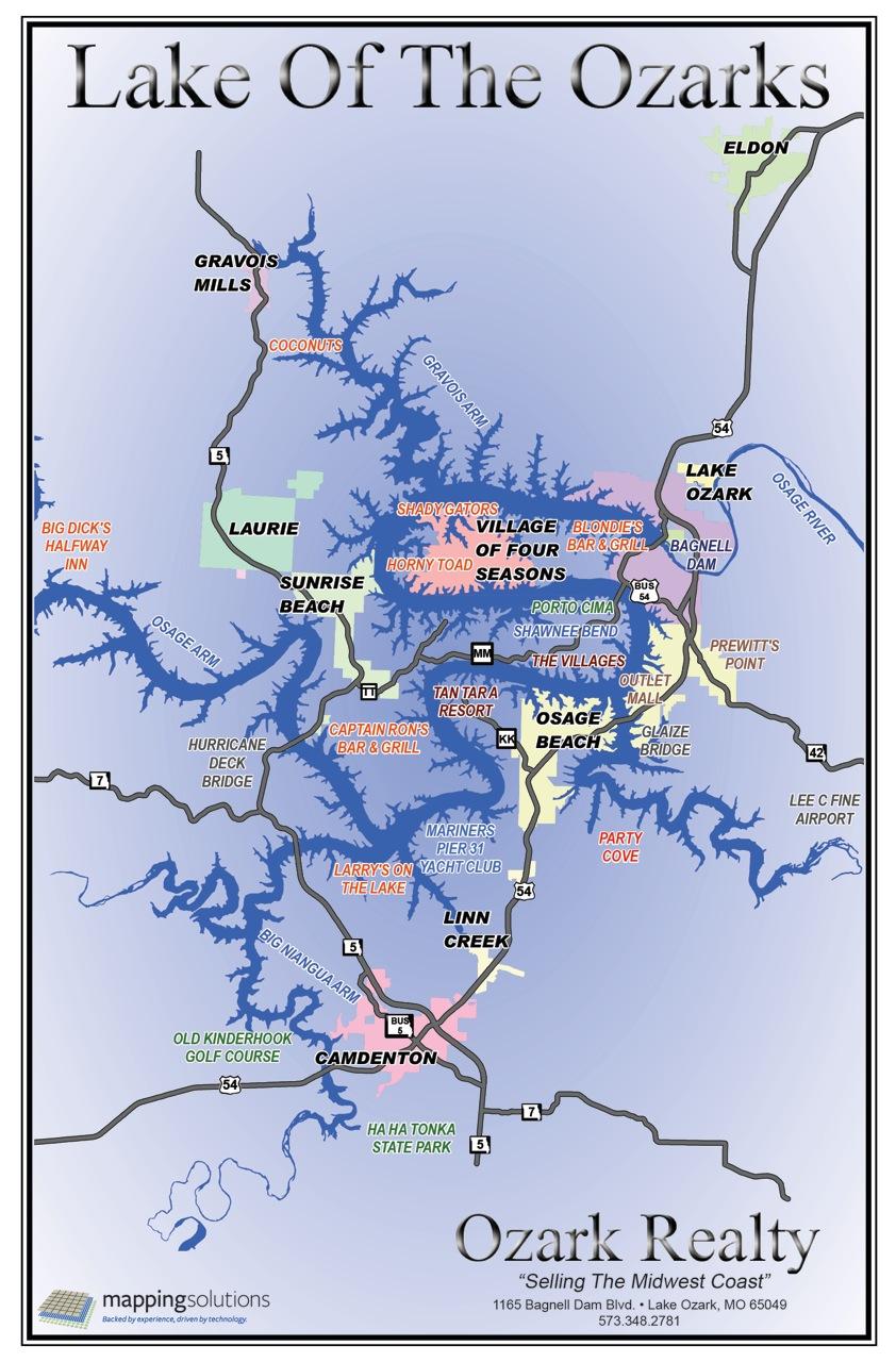 Lake Of The Ozarks Fishing Map : ozarks, fishing, Ozarks