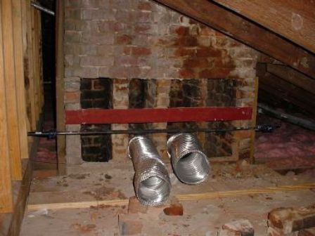Attic openings for first and second floor chimney flues