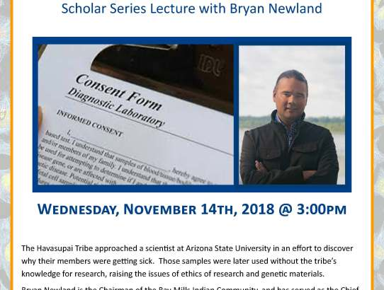 Scholar Series: Bryan Newland presents Blood Feud: The Ethics of Researching Native American Genetics