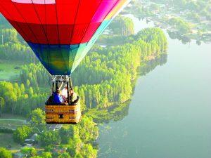 A hot air balloon operates over Land O' Lakes. (Photo courtesy of American Balloons)