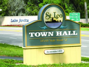 St. Leo is such a small town that a community that's complained about taxes, nearby Saint Leo University and other issues, is literally right on the town hall's doorstep. (Photo by Michael Hinman)