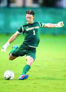 Just a few games into the season, Saint Leo goalkeeper Manny Schoenhuber hasn't allowed any goals and the Lions haven't lost any games. They're ranked in the top 10 of the most recent NSCAA poll. (Courtesy of Mike Carlson)