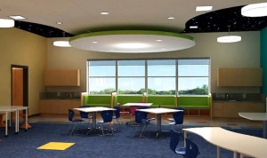 The furniture in Sanders Memorial Elementary School will be easy to move around, so students and teachers can easily cluster together in groups to work on learning projects.