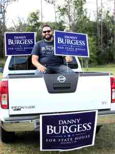 Nick Burgess promoted his older brother Danny to voters all day Election Day from the bed of his pickup truck at Bridgeway Church in Wesley Chapel. Danny Burgess won his first state House election with 60 percent of the vote. (B.C. Manion/Staff Photo)