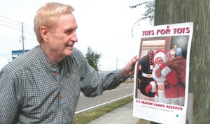 Bob Loring will do whatever it takes to get the word out for his annual local Toys For Tots campaign. (Michael Murillo/Staff Photo)