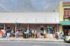 Customers lined up both inside and down the block at Olga's Bakery and Deli in downtown Dade City. The business donated 100 percent of the proceeds of its business on April 29 to help the Ivie family. (Richard Riley/Photo)