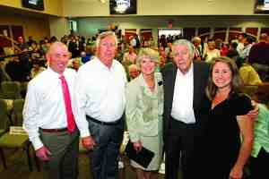 Pasco-Hernando State College President Katherine Johnson poses with members of the Porter family during a school celebrating the new campus. From left are J.D. Porter, Bill Porter, Johnson, Don Porter and Quinn Miller. (Courtesy of Pasco-Hernando State College)