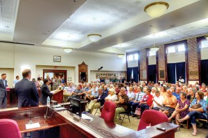 The chambers at the Historic Courthouse in Dade City were packed, as people turned out to share their concerns with U.S. Rep. Gus Bilirakis, State Sen. Wilton Simpson and State Rep. Danny Burgess. (Richard Riley/Photos)