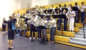 Sunlake High Band members played the National Anthem at the public forum hosted by Pasco County's legislative delegation in the high school gymnasium. (Kathy Steele/Staff Photo)