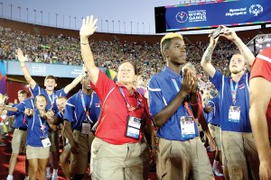 Land O' Lakes High School coach Vicky King is savoring the moment during the opening ceremonies at the Special Olympics World Games in Los Angeles. King recently was named Special Olympics Florida Coach of the Year. (Photos courtesy Pasco County Schools/Andy Dunn)