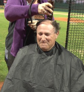 Saint Leo baseball coach Sean O'Connor and most of his team got their heads shaved last year to close out the team's fundraising for cancer research. They'll do it again on Jan. 10. (Photos courtesy of Saint Leo University)