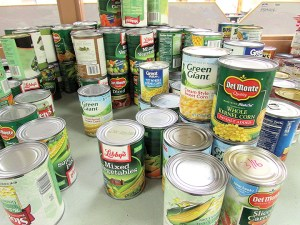 Centennial Middle School helps families in need during the holidays, and also at other times of the year. This is some of the food in its pantry.
