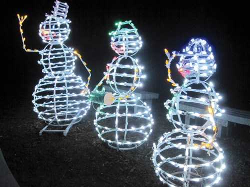 These snowmen were a big hit with visitors during a recent evening at Holiday Lights in the Gardens at Florida Botanical Gardens in Largo.