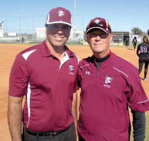 The Wiregrass Ranch softball team has two first-time high school coaches in Yamani Vazquez, left, and Tyler Finn. They have spent the past several years coaching rec league and travel softball in Wesley Chapel. (Kevin Weiss/Staff Photo)
