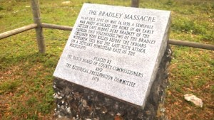 At the time of the Seminole raid, the Bradley residence was approximately a mile north of the location of this historic marker off Bellamy Brothers Boulevard. (Doug Sanders/Photo)