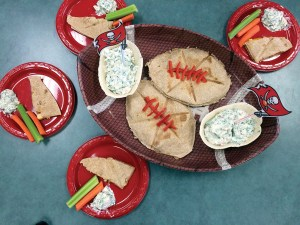 The New River students are one of four regional finalists chosen for the third annual Gridiron Cooking Challenge for their recipe, 'Cheesy Chicken and Bacon Quesadilla with Yogurt Veggie Dip.' They will prepare the recipe at One Buc Place on May 14. (Courtesy of Kathy Gillooly)