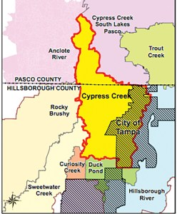 This graphic illustrates the Cypress Creek Watershed, which lies in the northern portion of Hillsborough County and in the southern portion of Pasco County. The 33-square-mile section of the watershed located within Hillsborough County is generally bordered by U.S. 41 and Interstate 75. (Photos courtesy of Hillsborough County)