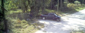 Pasco County is using cameras to help catch people it alleges are conducting illegal dumping activities. This truck is a still shot taken from one of the county's videos. The county is offering a $50 reward to people who help identify and catch litterbugs. (Courtesy of Pasco County)