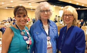 From left, Elena McCullough, alternate delegate, of Wesley Chapel; Elaine Togneri, delegate, of New Port Richey; and, Dr. Susan A. MacManus chat at the Florida delegation breakfast. MacManus, a political scientist at the University of South Florida, is a nationally known expert on Florida politics.