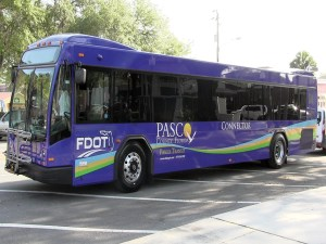 Pasco County will give bus riders an upgrade with two new buses that have plush seats, reading lights and luggage racks. (Courtesy of Pasco County)