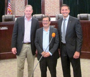 A town hall meeting was held on Aug. 22 at the Dade City Courthouse. From left to right: State Sen. Wilton Simpson, U.S. Rep. Gus Bilirakis and State Rep. Danny Burgess. (Kevin Weiss/Staff Photos)